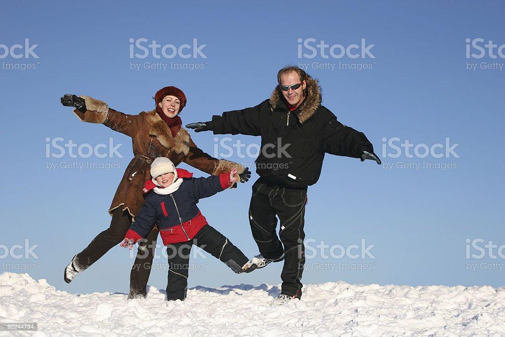 winter family on one leg royalty-free stock photo