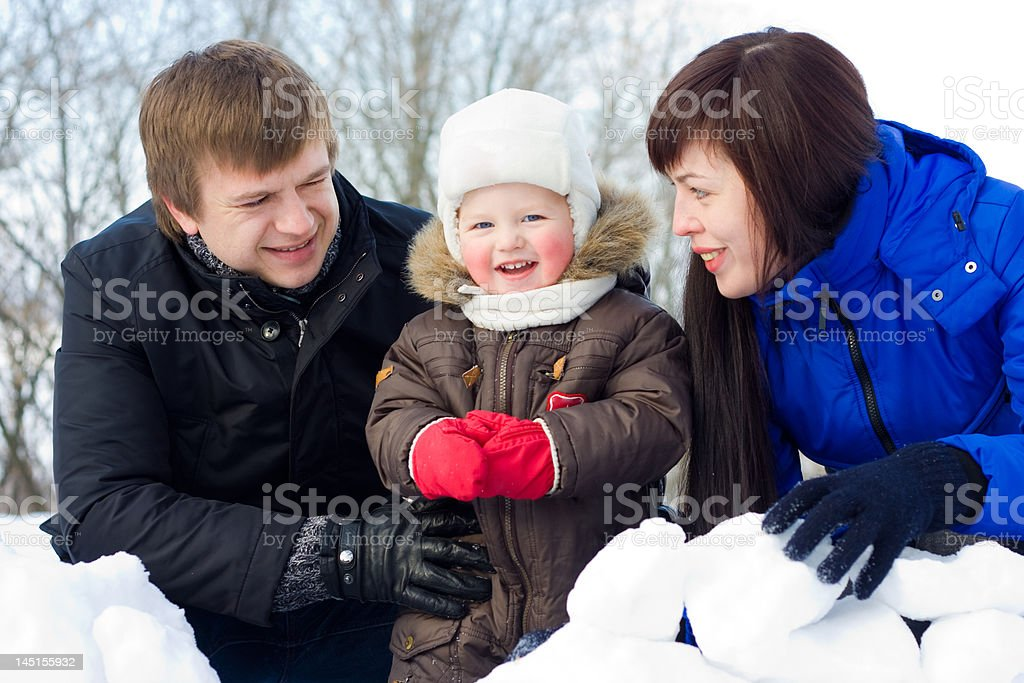 Winter family portrait royalty-free stock photo