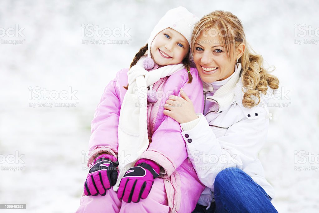 Winter family portrait. royalty-free stock photo