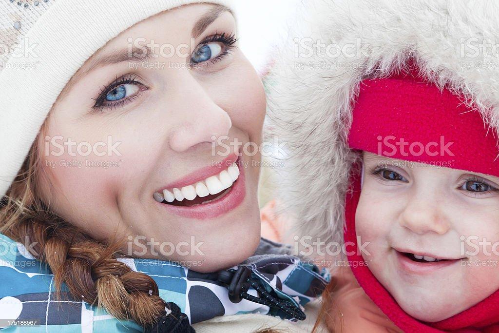 Winter family portrait. stock photo