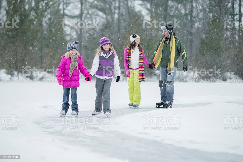 Winter Family Time stock photo