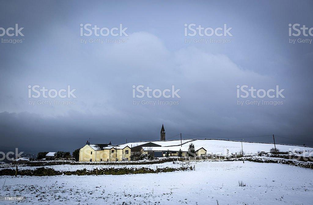 winter farm cheshire stock photo