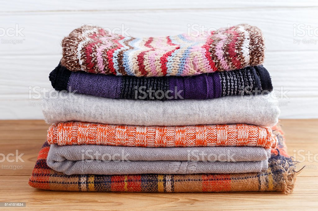 Winter fashion clothing stack stock photo