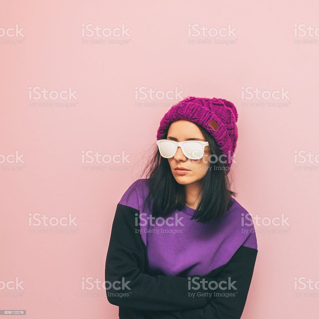 winter fashion girl. stock photo