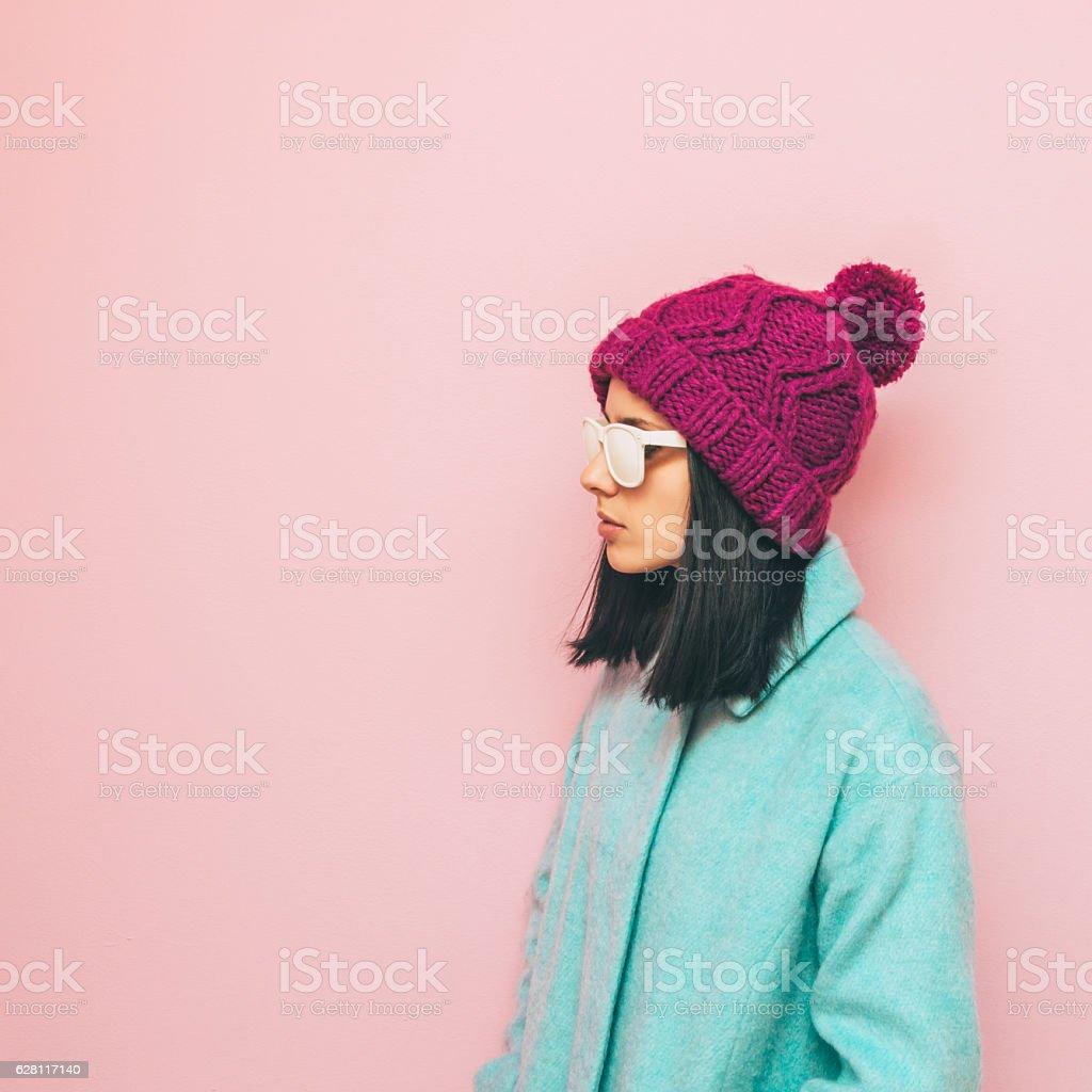 winter fashion girl stock photo