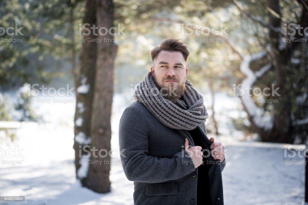 Winter fashion man stock photo
