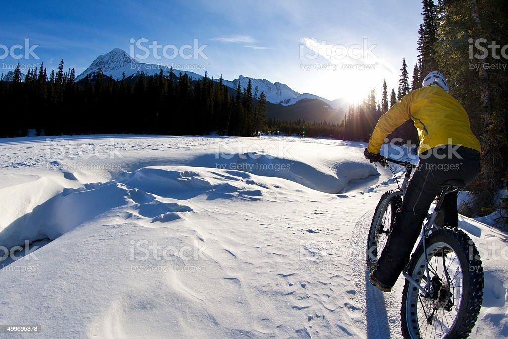 Winter Fat Bike Morning stock photo