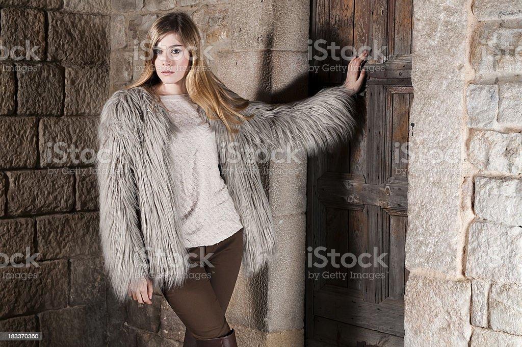 Winter faux fur coat royalty-free stock photo