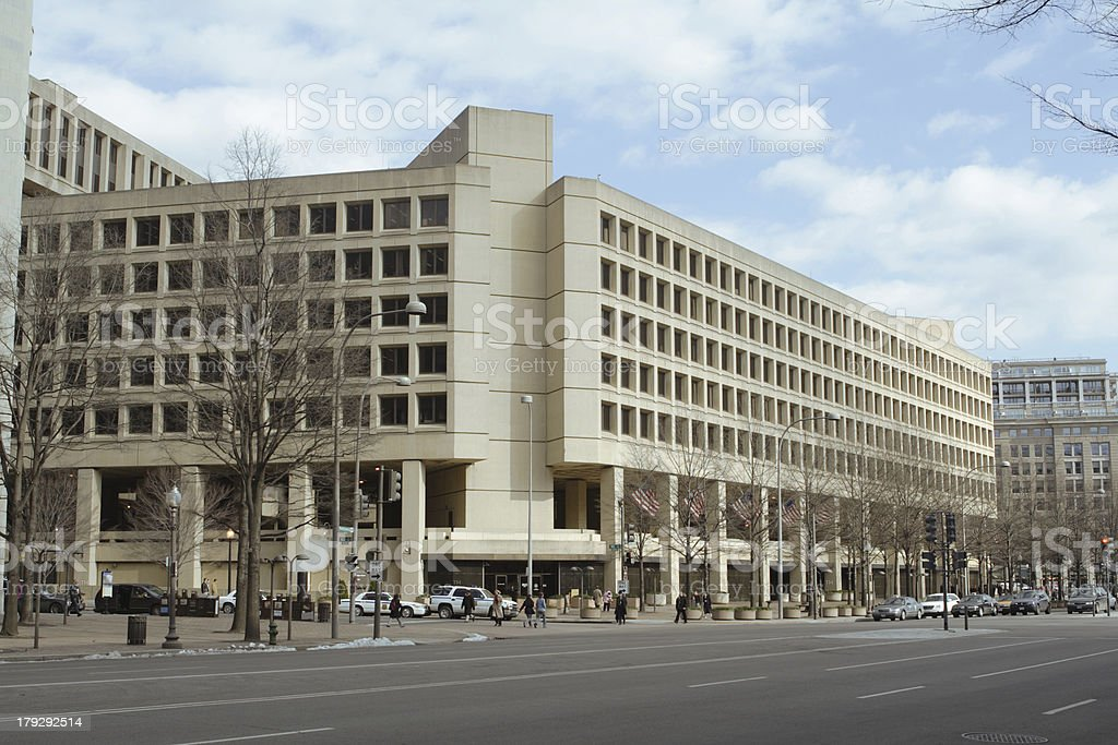 Winter FBI Building Pennsylvania Ave, Washington DC, United States stock photo