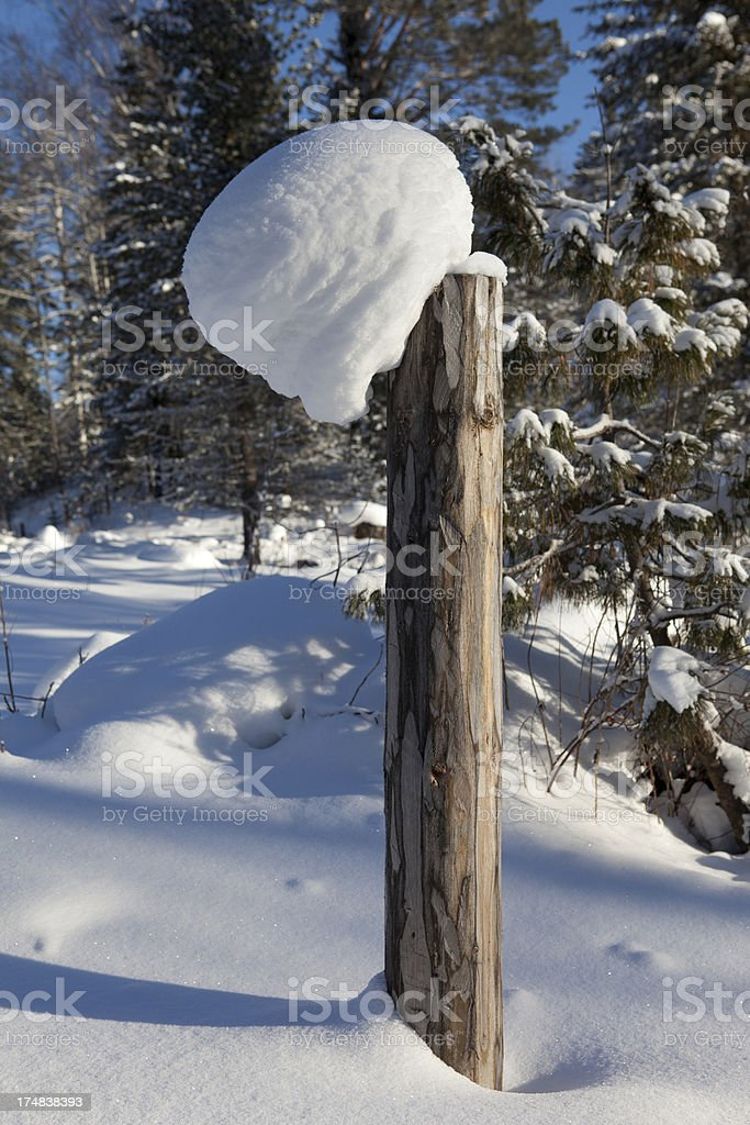 Winter fence post royalty-free stock photo