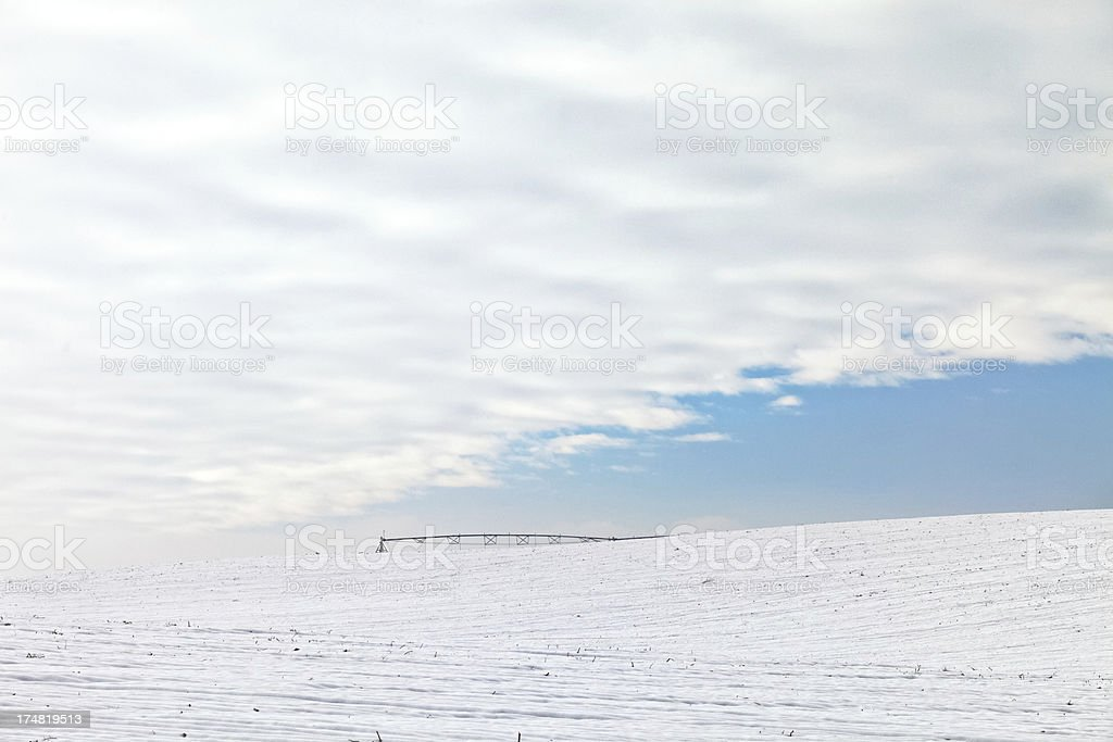 Winter Field Irrigation Agriculture royalty-free stock photo