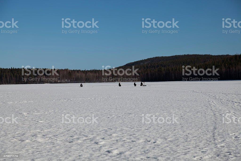 Winter fishing royalty-free stock photo