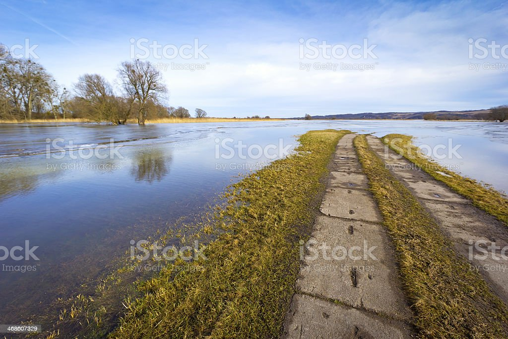 Winter flood at the Oder River stock photo