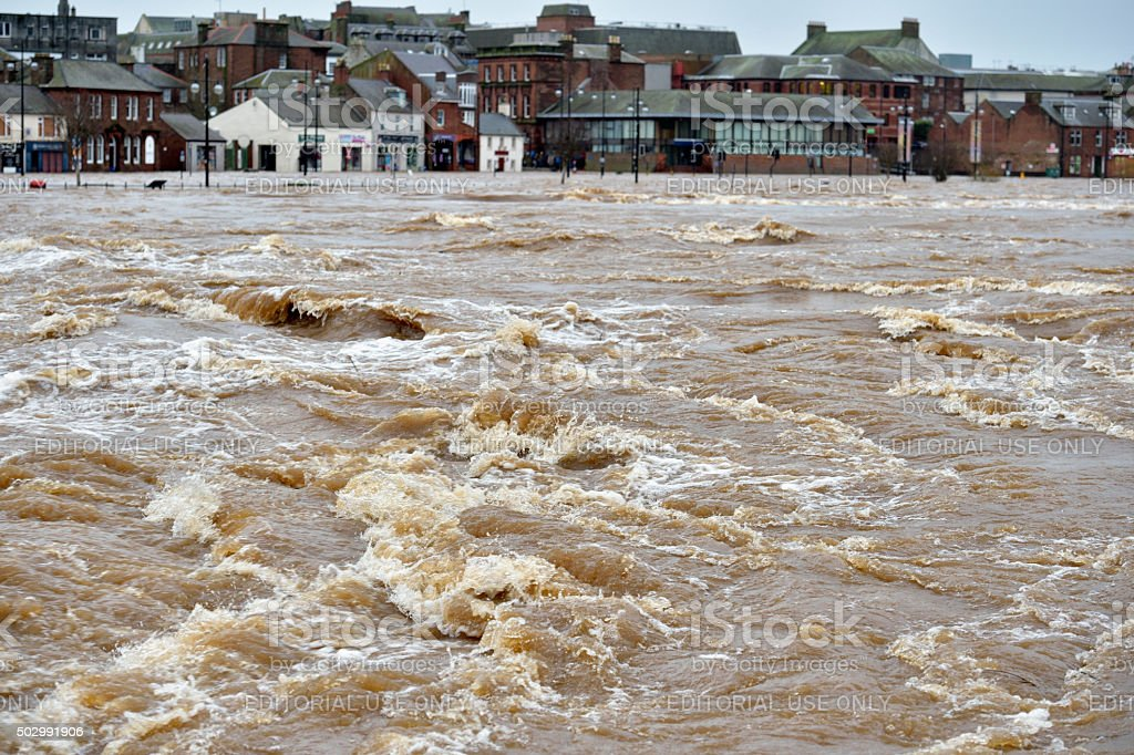 Winter flooding in the Scottish town of Dumfries. stock photo