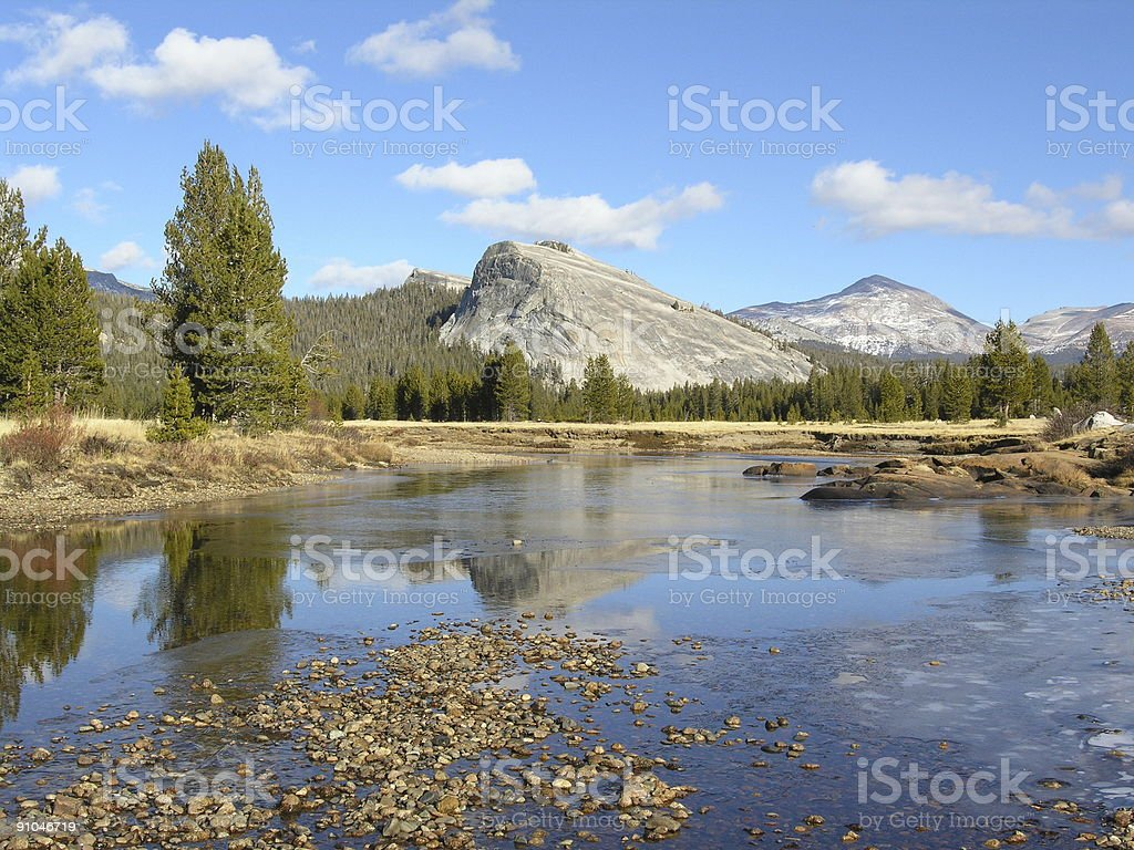 Winter Flow on the Tuolumne River in Yosemite National Park royalty-free stock photo