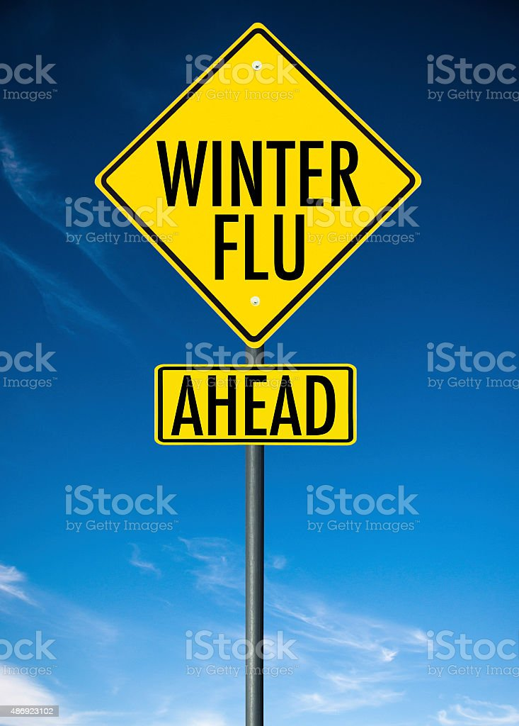 winter flu street sign stock photo