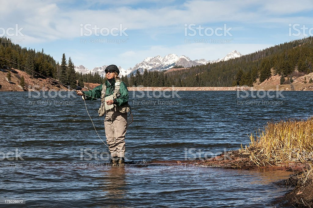 Winter Fly-Fishing royalty-free stock photo