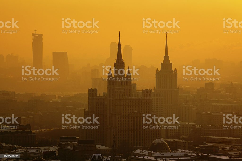 Winter fog in Moscow at sunset stock photo
