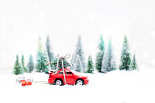 Winter Forest with miniature red car carrying a  christmas tree