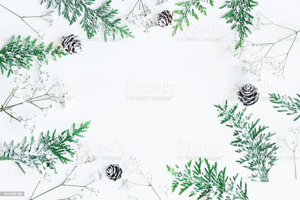 Winter frame. Top view, flat lay stock photo