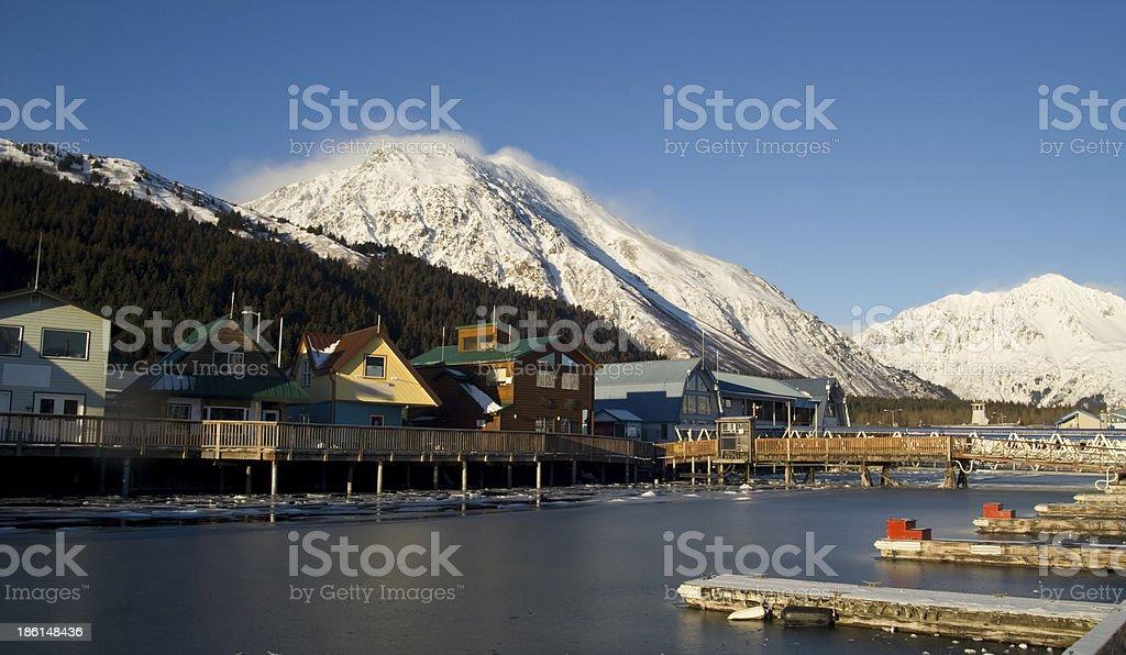 Winter Freeze Resurrection Bay Seward Alaska Docks Marina Boardwalk stock photo