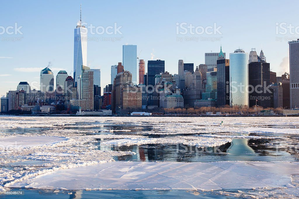 NYC Winter Frozen Arctic Weather One World Trade Center stock photo