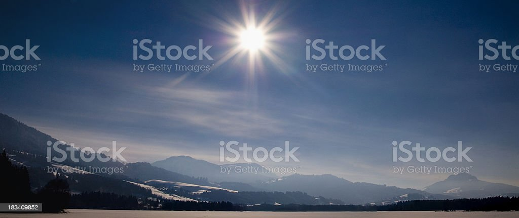 Winter frozen Lake - XXL Panorama Sun in the middle stock photo