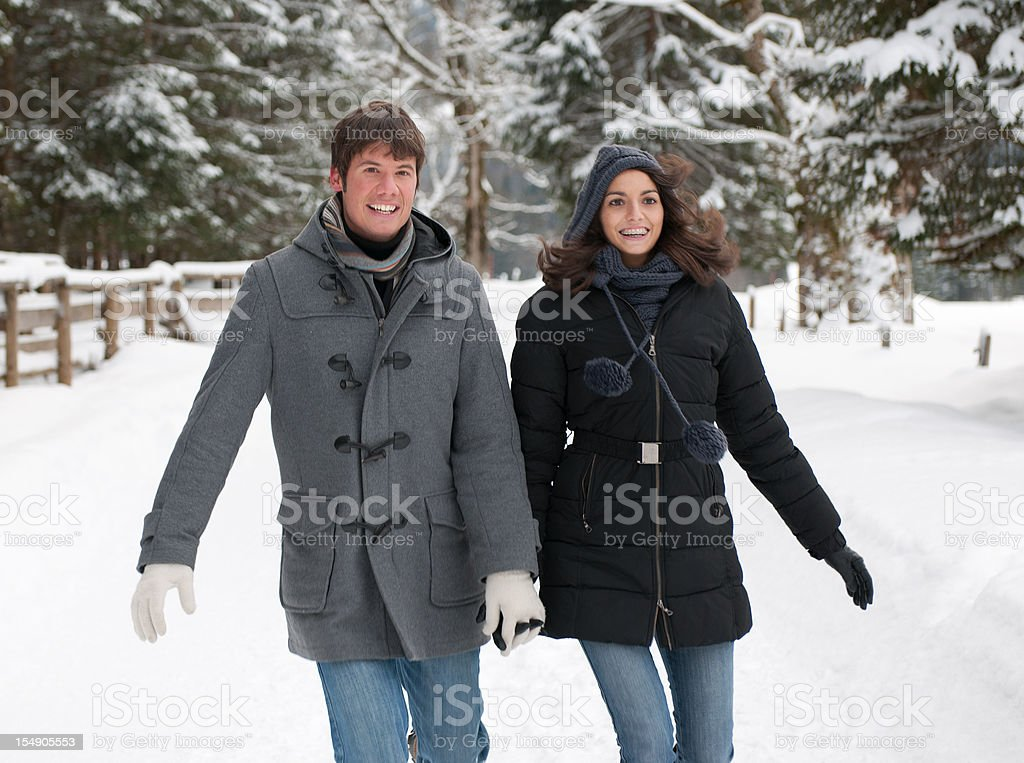 Winter Fun - Candid Couple Portrait (XXXL) royalty-free stock photo