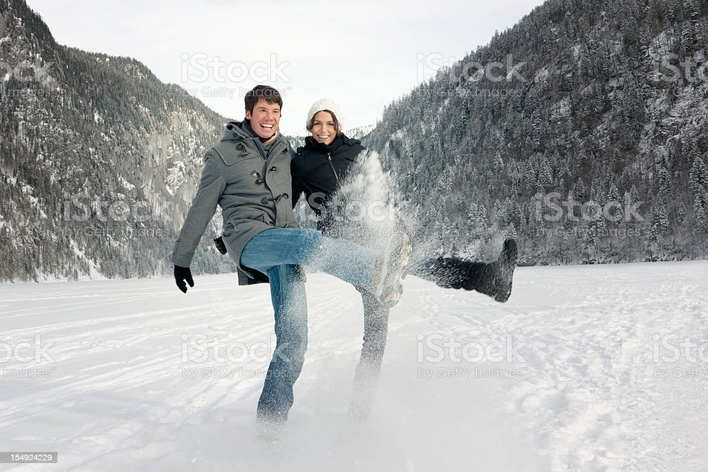 Winter Fun - Candid Couple Portrait (XXL) royalty-free stock photo