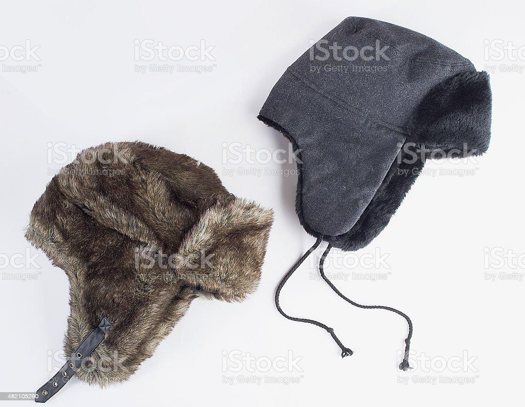 winter fur hats stock photo