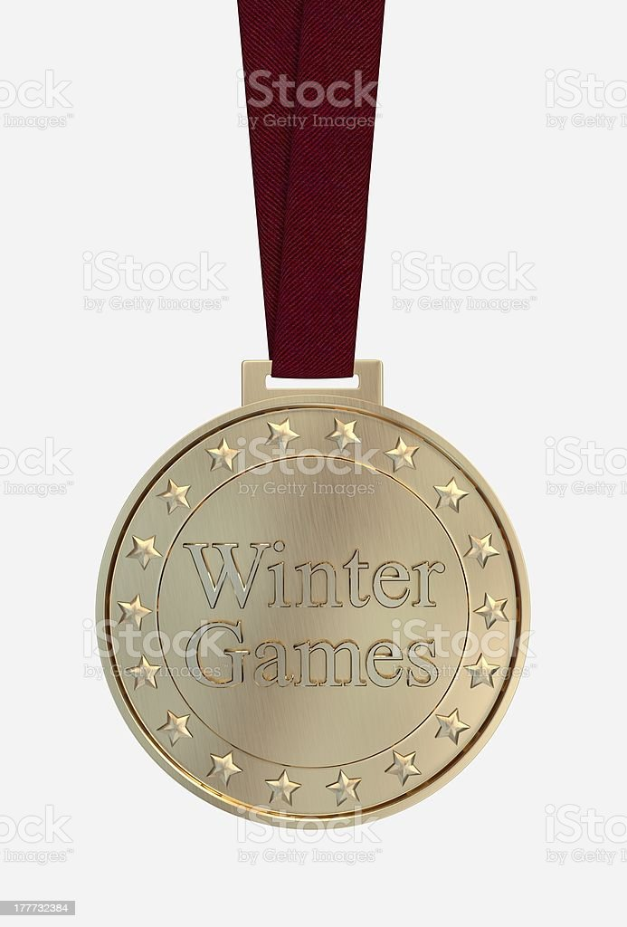 Winter games gold medal royalty-free stock photo