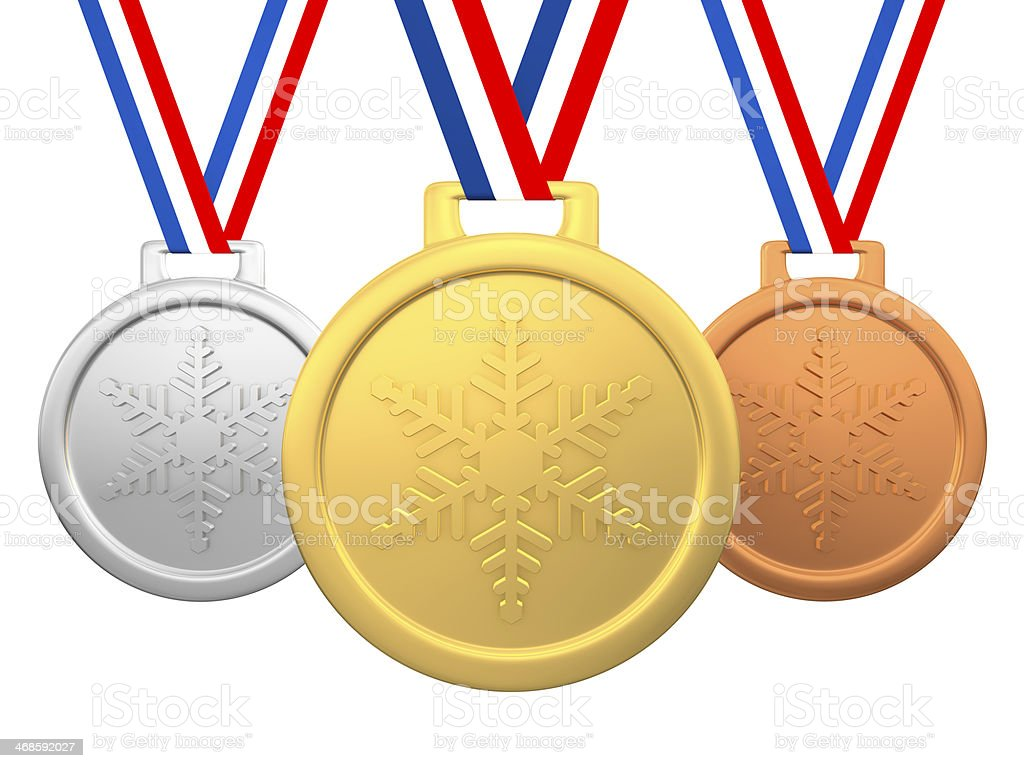 Winter games medals stock photo