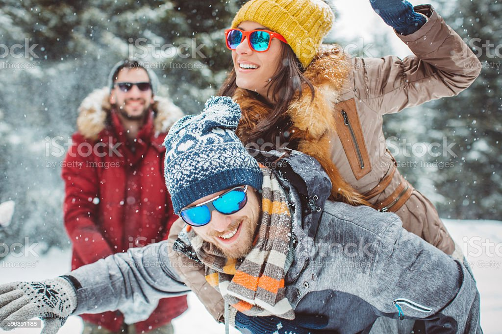 Winter games with friends stock photo