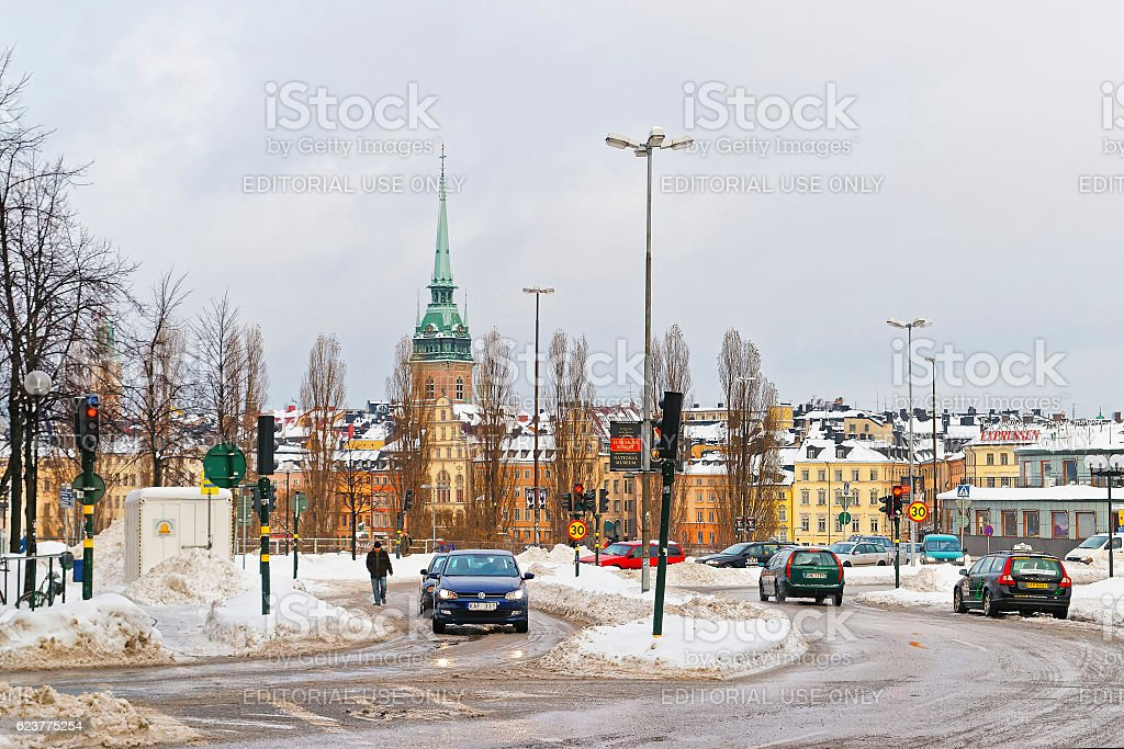 Winter Gamla Stan and Church of Saint Clare in Stockholm stock photo
