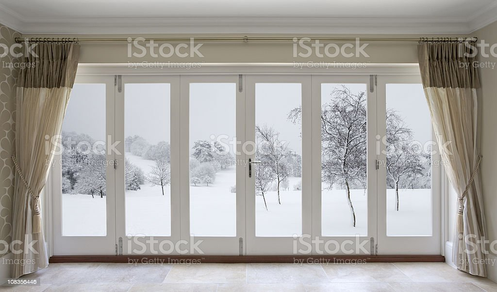 winter garden view stock photo