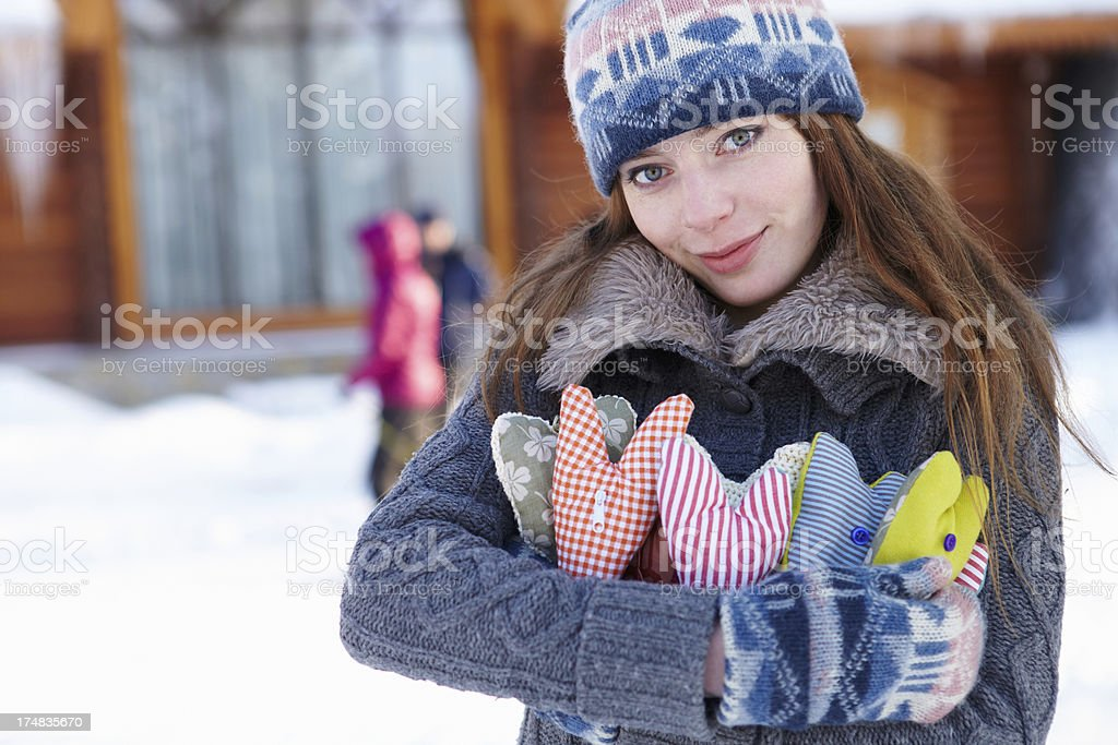 Winter. Girl with heart shapes outdoor. royalty-free stock photo