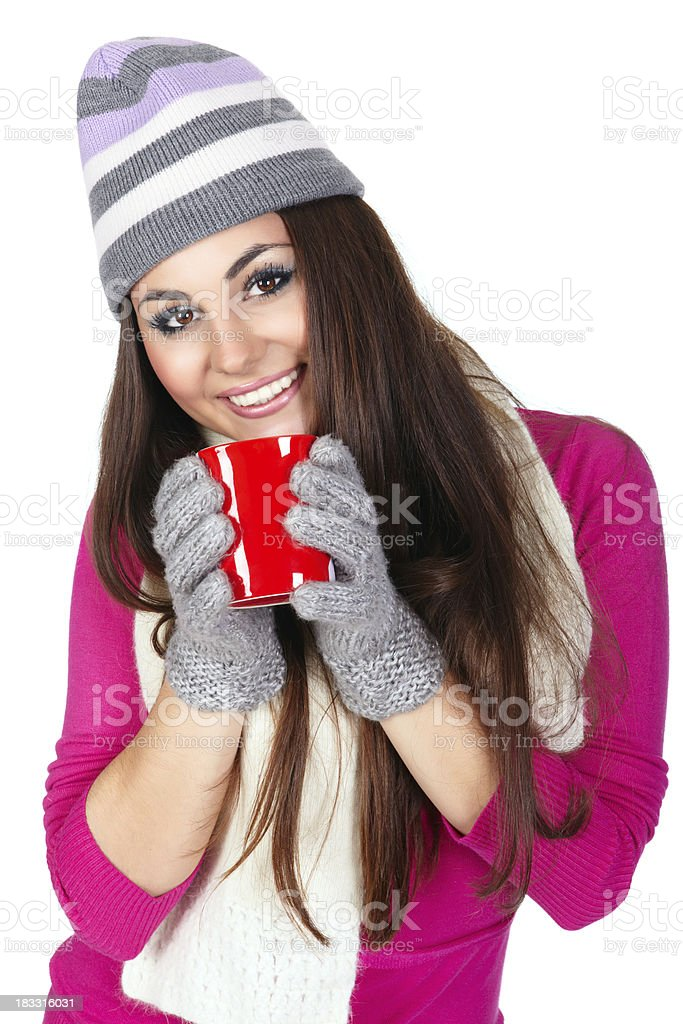 Winter girl with tea cup royalty-free stock photo