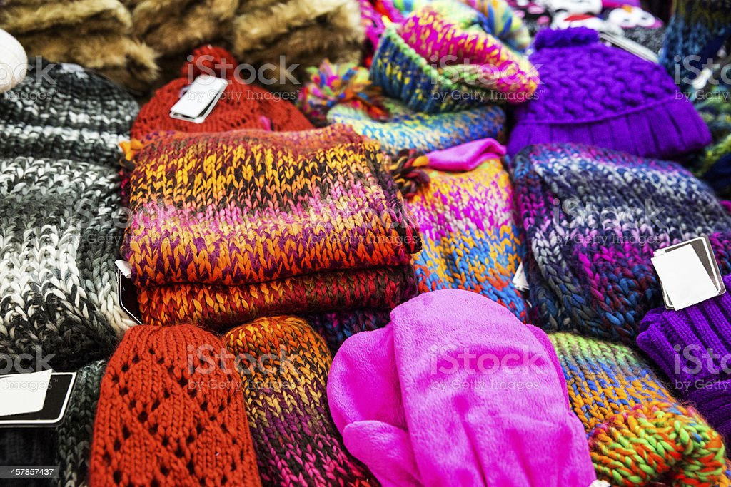 Winter gloves and hats for sale in department store stock photo