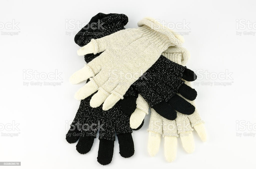 Winter gloves with a hasp stock photo