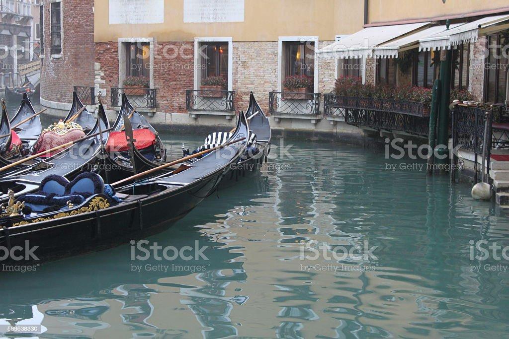 Winter Gondolas - Venice, Italy stock photo