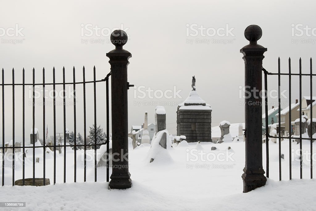 Winter Graveyard Gate on  Gloomy Day, Close Up royalty-free stock photo