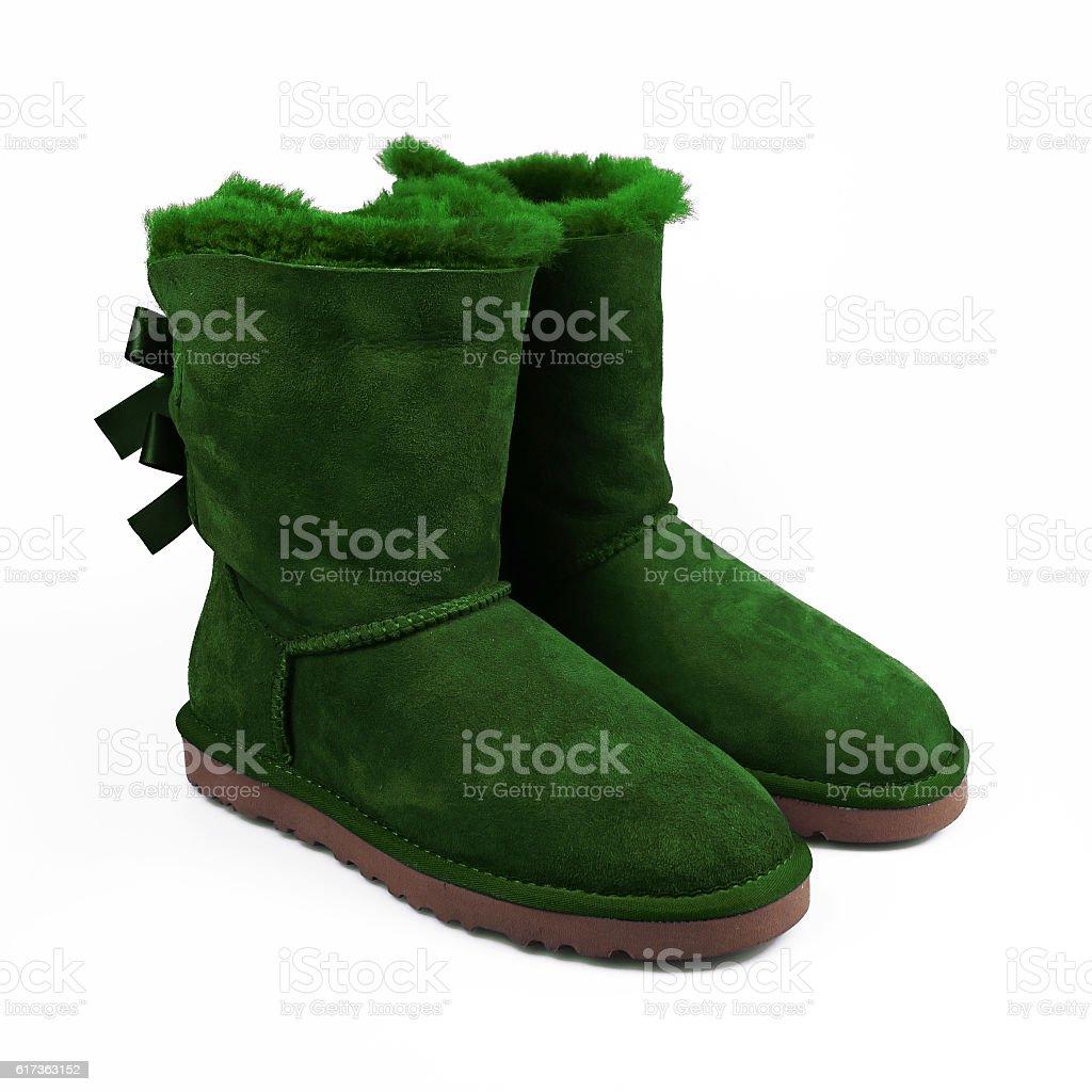 winter green shoes stock photo