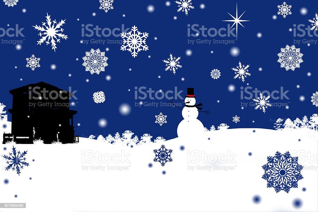 Winter greeting card snowman scene with snowflakes and blue sky. stock photo