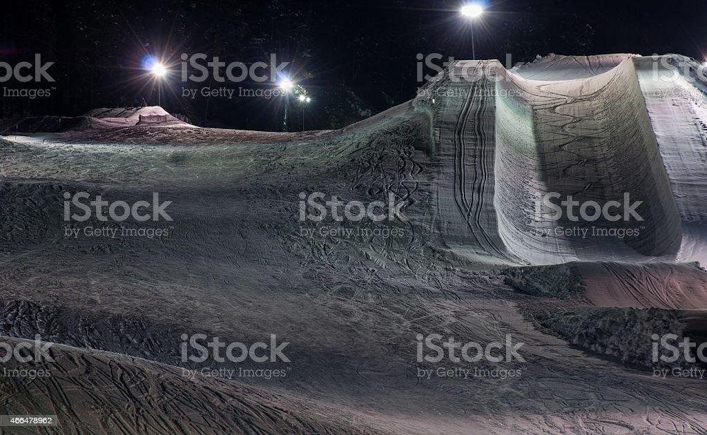 Winter Halfpipe Downhill Course Ski or Snowboard stock photo