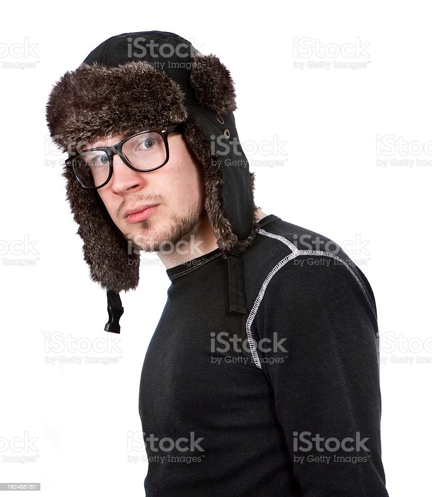 Winter Hat and Glasses Guy royalty-free stock photo