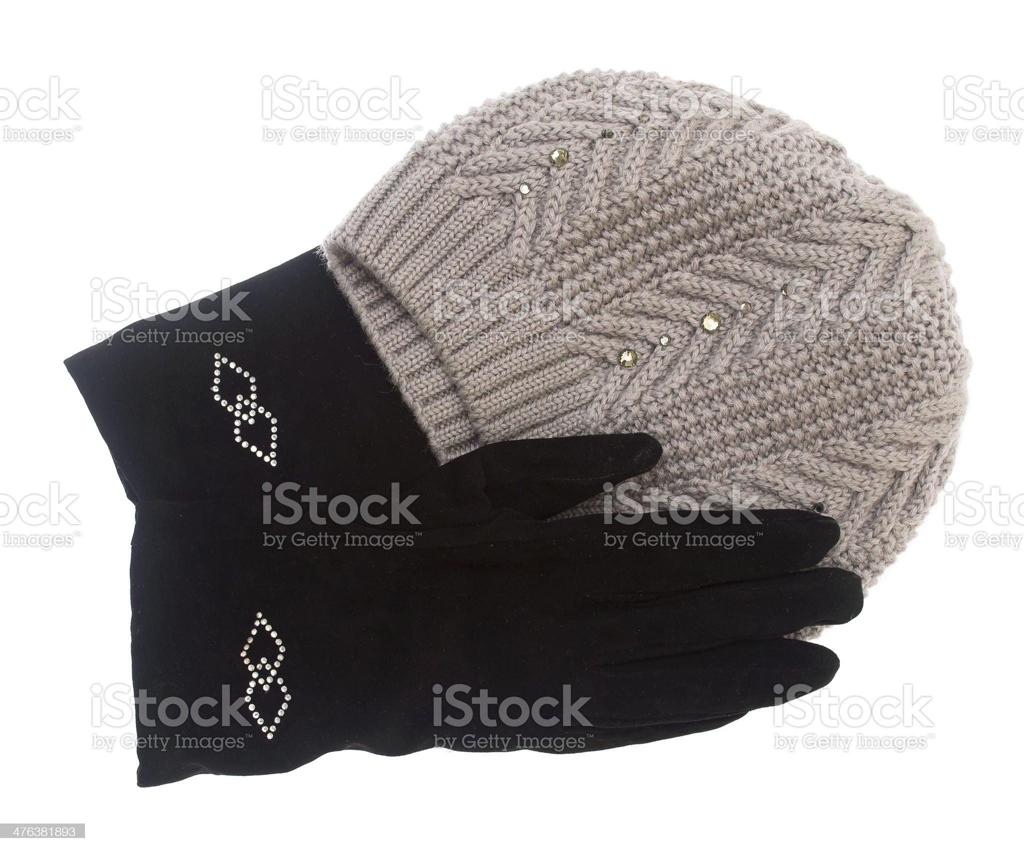 winter hat and gloves isolated on white background. royalty-free stock photo