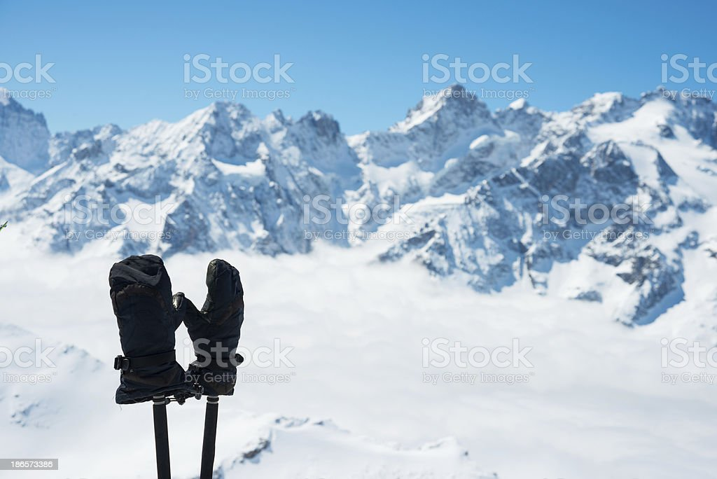 Winter High Mountain Landscape with ski-gloves royalty-free stock photo