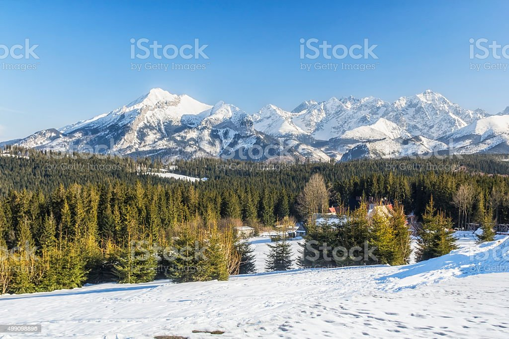 Winter High Tatra Mountains landscape stock photo