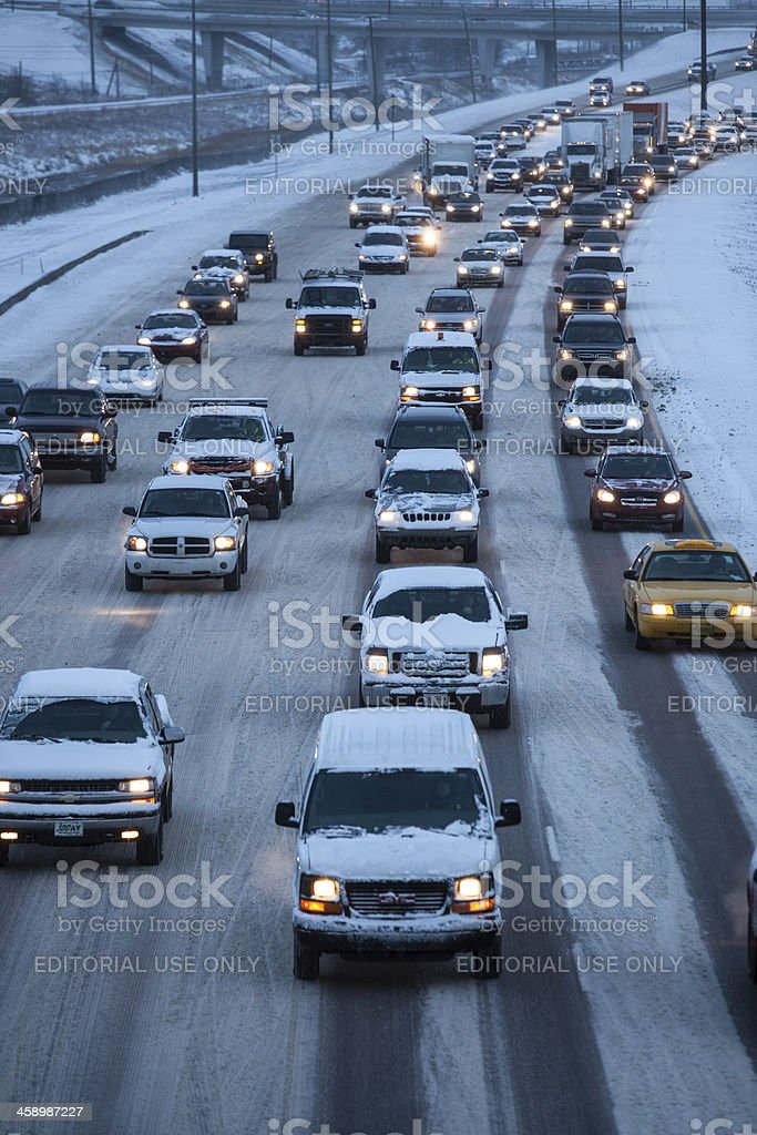 Winter Highway Driving royalty-free stock photo