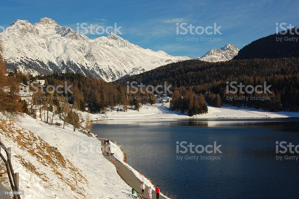 Winter Hike in Swiss Landscape royalty-free stock photo